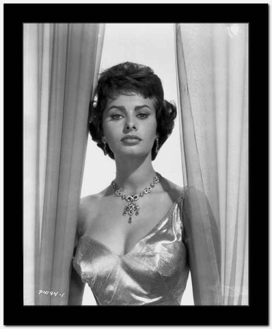 Sophia Loren wearing a Glossy Single Shoulder Dress in a Classic Portrait High Quality Photo