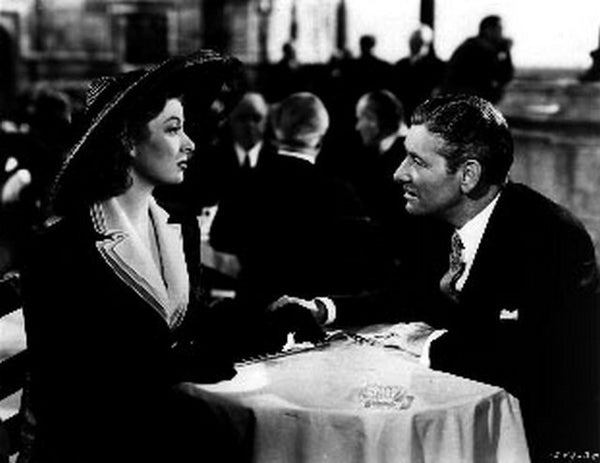 Random Harvest Couple Eating in the Restaurant Scene Excerpt from Film in Black and White Premium Art Print