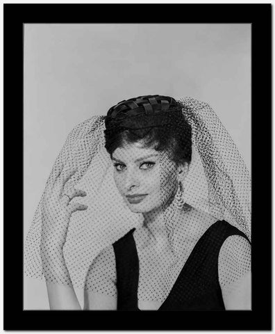 Sophia Loren wearing a Black Tank top and a Veil in a Classic Portrait High Quality Photo