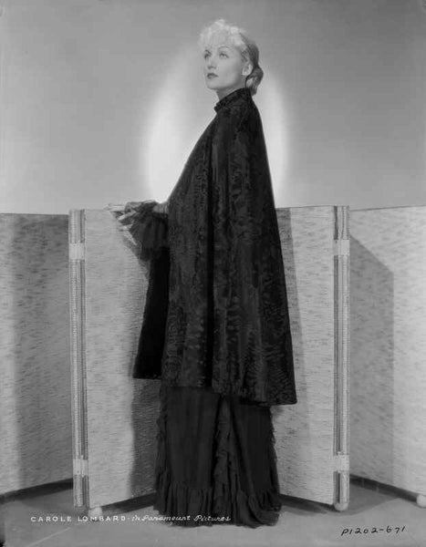Carole Lombard wearing a Long Gown and Leaning Pose Premium Art Print