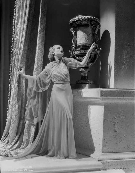 Carole Lombard wearing a Long Gown and Looking Up Premium Art Print