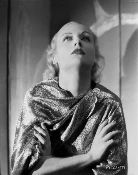 Carole Lombard Posed in a Printed Dress with Hands Crossed on Chest Premium Art Print