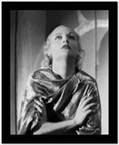 Carole Lombard Posed in a Printed Dress with Hands Crossed on Chest High Quality Photo