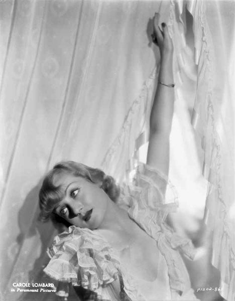 Carole Lombard wearing a Ruffled Sleeve and Hand on Air Premium Art Print