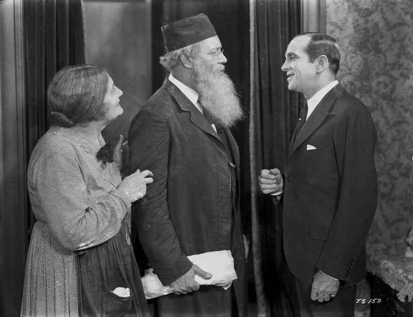 Al Jolson Talking to an Old Couple in a Classic Movie Scene Premium Art Print