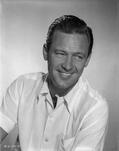 William Holden Posed in White Polo with a Smile Premium Art Print