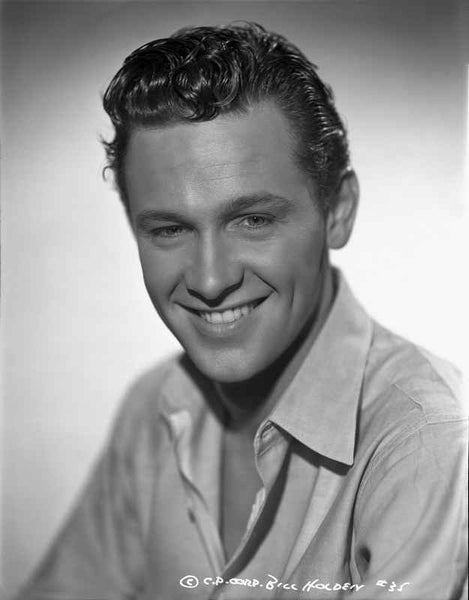 William Holden Close Up Portrait in White Dress Premium Art Print