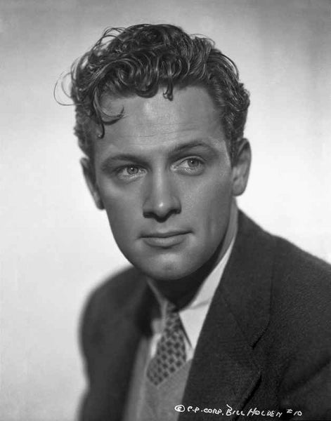 William Holden Looking Away in Black Suit with Curly Hairdo Premium Art Print