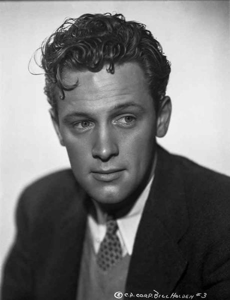 William Holden Looking Away in Black Coat with Curly Hairdo Premium Art Print