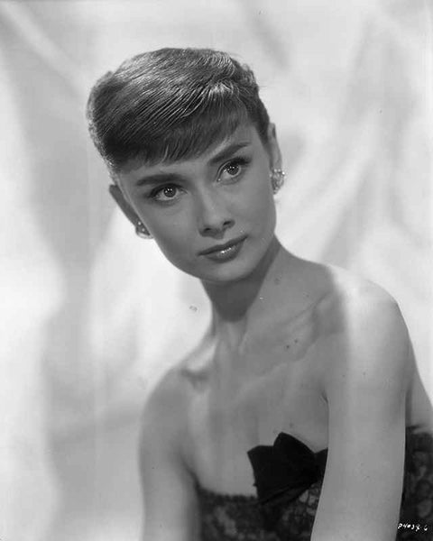 Portrait of Audrey Hepburn in Lace Dress with White Background Premium Art Print