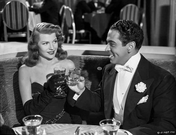 Rita Hayworth Portrait with A Man Drinking Wine Premium Art Print