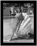 Rita Hayworth Leaning on Large Clam Shell High Quality Photo