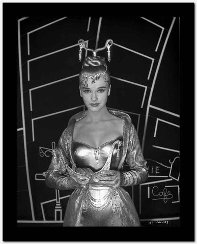 Anne Francis in Elegant Gown Holding a Mask High Quality Photo