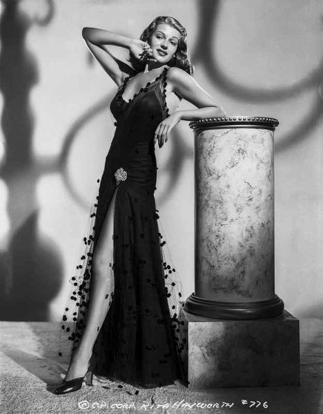 Rita Hayworth Leaning in Black High Slit Dress Premium Art Print