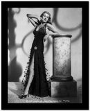 Rita Hayworth Leaning in Black High Slit Dress High Quality Photo