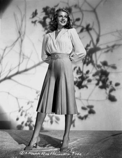 Rita Hayworth Posed in White Blouse Premium Art Print