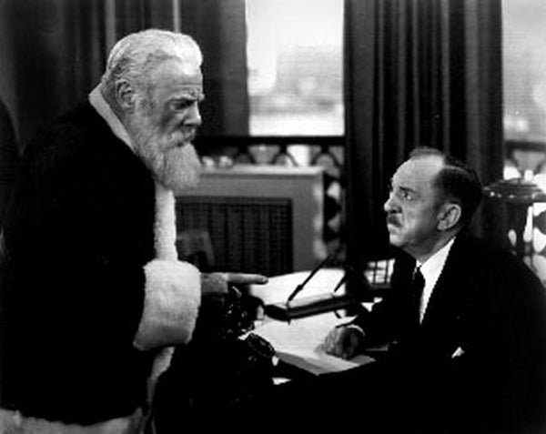 Miracle On 34th Street Movie Scene with Santa Claus Talking to a Man Premium Art Print