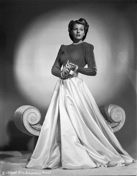 Rita Hayworth Posed in Dress with Long Skirt Premium Art Print