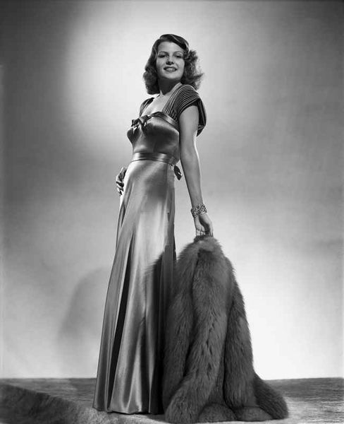 Rita Hayworth Posed in a Shiny Gown Premium Art Print