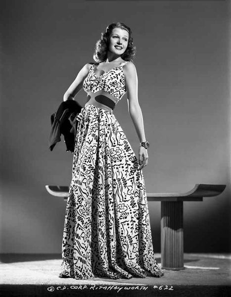 Rita Hayworth Posed in a Colorful Gown Premium Art Print