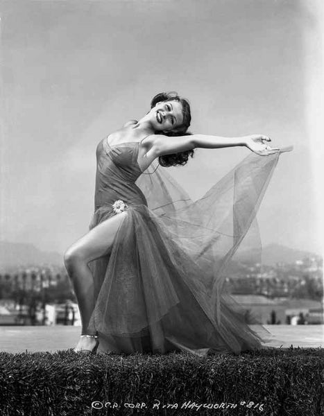 Rita Hayworth Dancing in See-Through Dress Premium Art Print