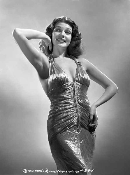 Rita Hayworth Hand on a Waist in a smiling Pose Premium Art Print