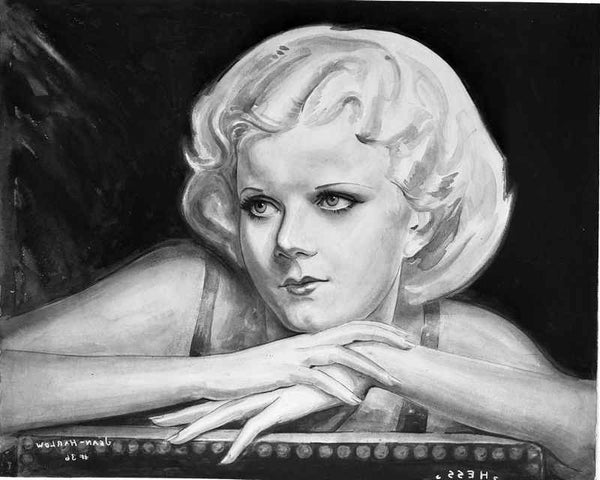 Jean Harlow Portrait Charcoal Drawing Premium Art Print