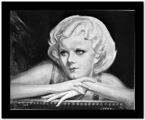 Jean Harlow Portrait Charcoal Drawing High Quality Photo