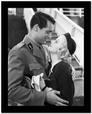 Jean Harlow Couple Shot Scene from a Film in Black Hat and Black Gathered Long Sleeve Linen Dress High Quality Photo