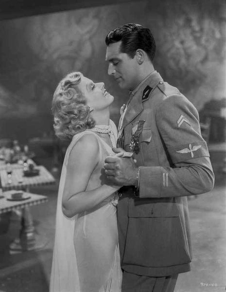 Jean Harlow Couple Shot Scene from a Film in V-Neck Sheer Silk Dress and Sheer Muffler Premium Art Print