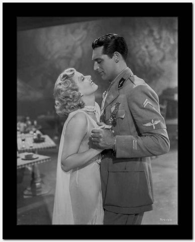 Jean Harlow Couple Shot Scene from a Film in V-Neck Sheer Silk Dress and Sheer Muffler High Quality Photo