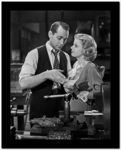 Jean Harlow Couple Shot Scene from a Film in Grey Long Sleeve Velvet Dress with White Ruffled Collar High Quality Photo
