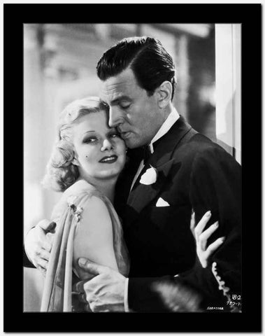 Jean Harlow Couple Shot Scene from a Film in Sheer Sleeveless Silk Dress with Brooch High Quality Photo