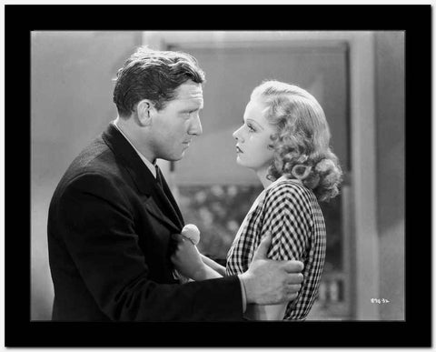 Jean Harlow Couple Shot Scene from a Film in White Gingham Short Sleeve Collar Dress High Quality Photo