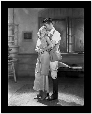 Jean Harlow Couple Shot Scene from a Film in Deep V-Neck Gathered Bodice Linen Dress with Pleated Skirt High Quality Photo