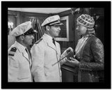 Jean Harlow Scene from a Film Two Men in White Uniform and Peak Cap Talking to a Man Holding a Pistol High Quality Photo