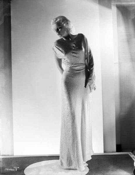 Jean Harlow Posed in White High Neck Long Sleeve Silk Dress with Long Pencil Skirt Premium Art Print