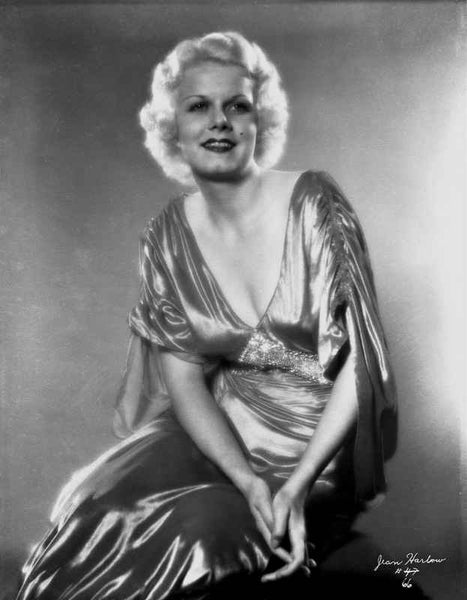Jean Harlow Posed in Draped Sleeve V-Neck Silk Long Dress with Hands Together Premium Art Print