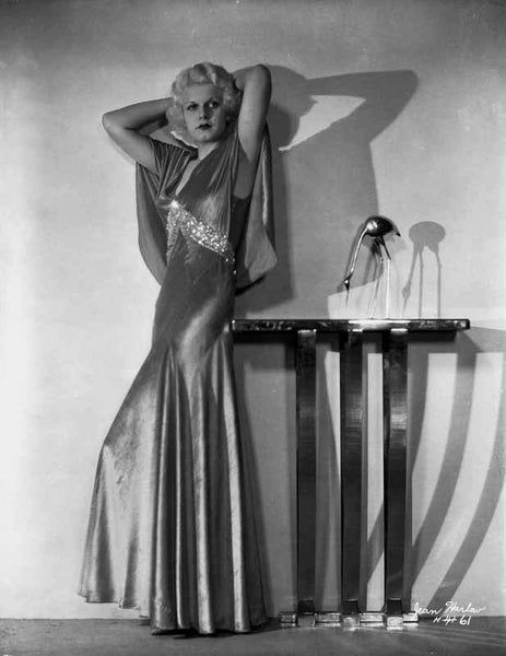 Jean Harlow Posed Hands on the Head in Silk Long Dress Premium Art Print