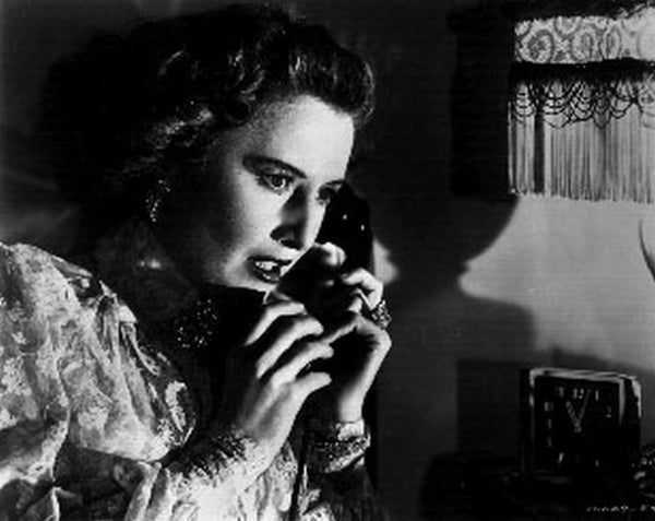Sorry Wrong Number Portrait of Woman on the Phone Excerpt from Film in Black and White Premium Art Print