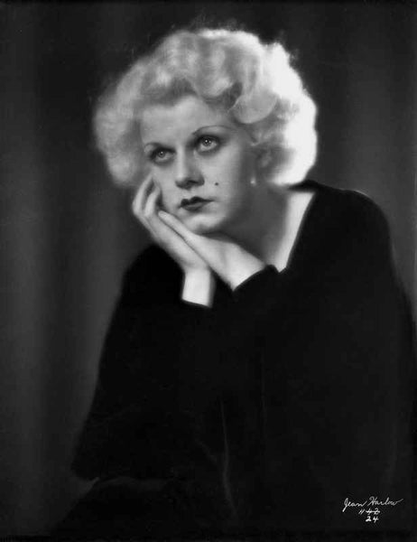 Jean Harlow Portrait in Black Long Sleeve Shirt Premium Art Print