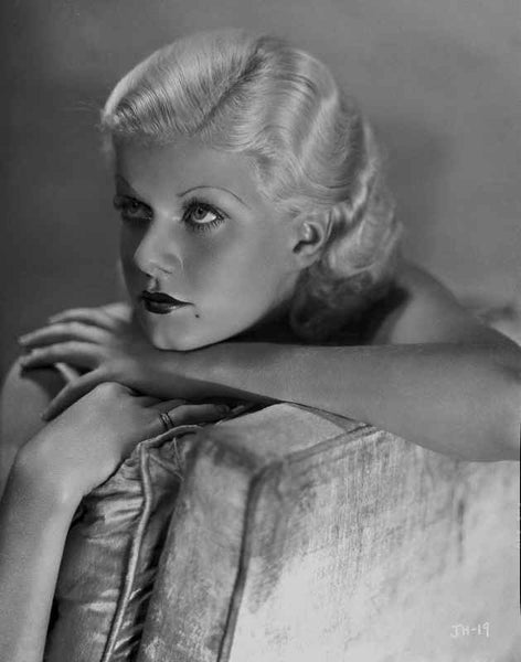 Jean Harlow Portrait Seated on the Couch Premium Art Print
