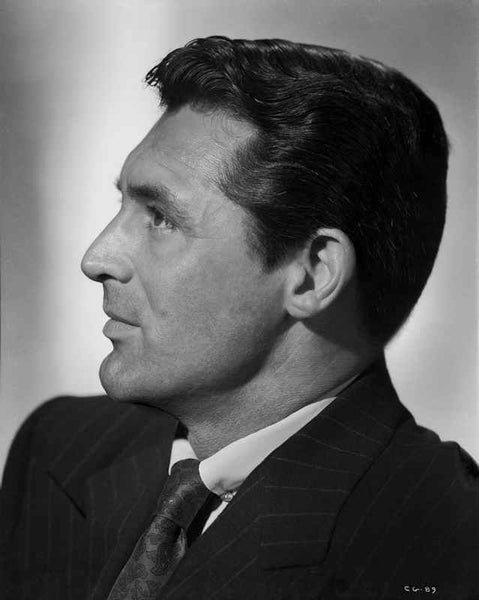 Cary Grant Side view Pose in Suit and Printed Silk Necktie Premium Art Print