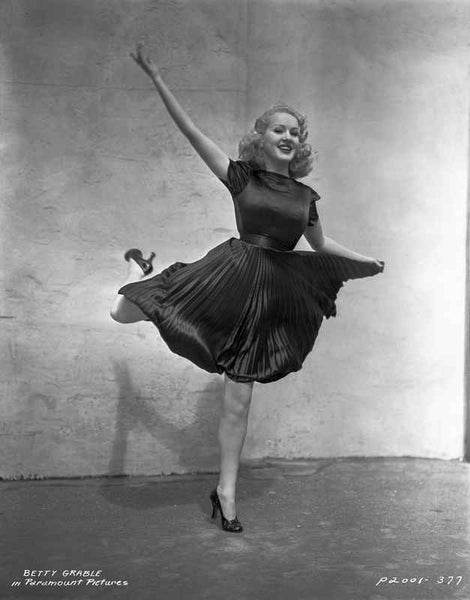 Betty Grable Posed in a Black Dress