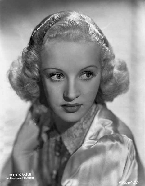 Betty Grable Portrait Looking to the Left in White Long Sleeve Silk Dress with Curtain Curl Hair Premium Art Print