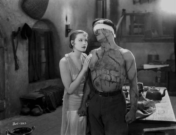 Greta Garbo Man Being Harassed Comforted by a Beautiful Lady Premium Art Print