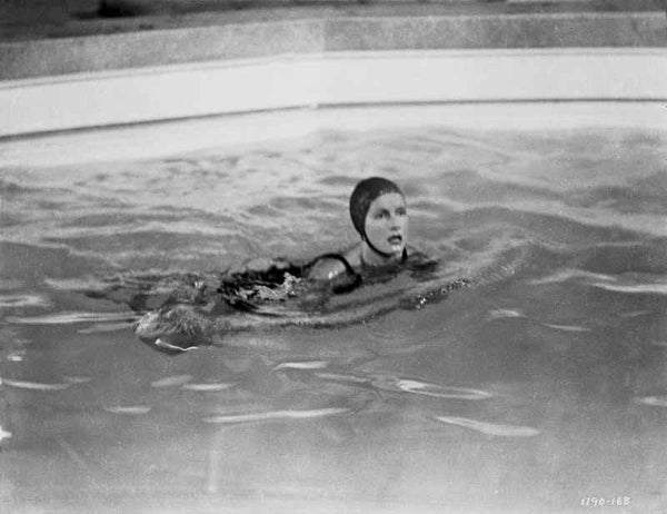 Greta Garbo Swimming Front Stoke Premium Art Print