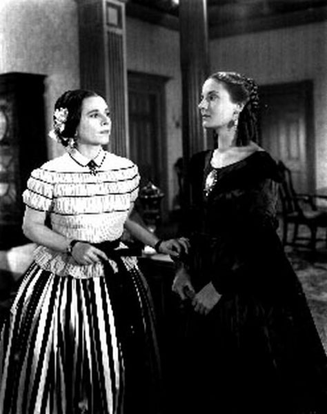 Abe Lincoln In Illinois Two Women Talking to Each Other in a Classic Movie Scene Premium Art Print