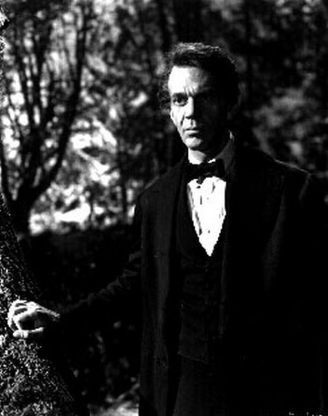 Abe Lincoln In Illinois Holding a Tree Weeing a Black Suit in a Classic Movie Scene Premium Art Print