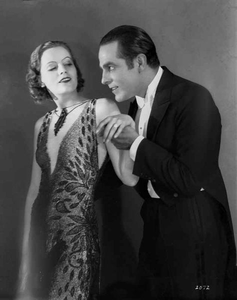 Greta Garbo Lady in Dress and a Man In Suit Premium Art Print